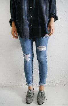 button-down flannel + ripped jeans