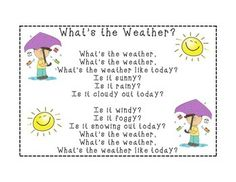 What's the Weather Song Whats The Weather Song, Weather Like Today, Teaching Weather, Preschool Weather, Kindergarten Songs, Preschool Songs, Preschool Lessons, Kids Songs, School