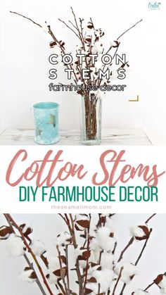 Are you on the lookout for beautiful farmhouse decorating ideas that you can whip up in just minutes? You can easily create a fabulous DIY farmhouse decor with these adorable cotton branches! # DIY Home Decor videos DIY COTTON STEMS Diy Interior, Interior Design Videos, Dollar Tree Decor, Dollar Tree Crafts, Geek Decor, Branch Decor, Recycled Crafts, Farmhouse Decor, Farmhouse Homes