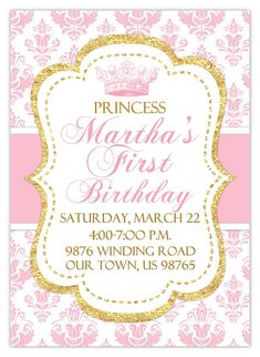 Princess Birthday Invitation Photo Card Damask by delightdesignbiz