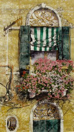 """vertical gardens (19) balcony venice 40"""" x 20"""" micheal zarowsky / watercolour on arches paper (private collection)"""