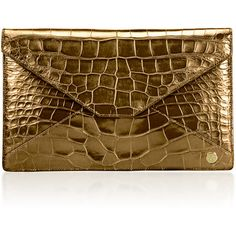 Stalvey 24K Gold Adysen Crocodile Envelope Clutch (461,760 EGP) ❤ liked on Polyvore featuring bags, handbags, clutches, gold, croc purse, envelope clutch, brown envelope clutch, gold purse and cell phone purse