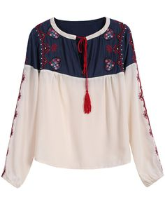 Colour-block Embroidered Chiffon Loose Blouse 17.67