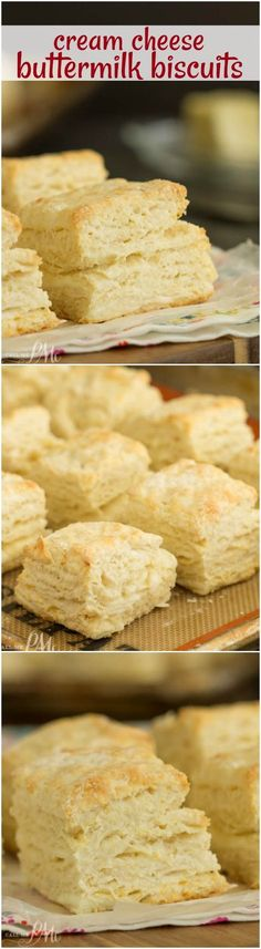 Cream Cheese Buttermilk Biscuits Fluffy and tender Cream Cheese Buttermilk Biscuits are made with butter, cream cheese, and buttermilk. Bake up a batch of this homemade biscuit recipe, they're easy and tasty! https://www.callmepmc.com/cream-cheese-buttermilk-biscuits/