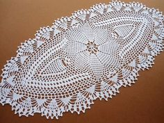 Crochet Doilies and Runners | Oval crochet doily / tablecloth / lace runner / white