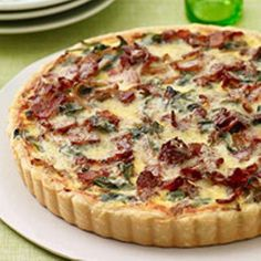 Onion, Bacon and Spinach Tart 1 piecrust 4 slices bacon, cut crosswise into ¼-inch slices 6 cups baby spinach pounds yellow onions (about halved and cut crosswise into ¼-inch slices cups) ¾ teaspoon salt ¼ teaspoon dr… Quiche Recipes, Bacon Recipes, Brunch Recipes, Breakfast Recipes, Cooking Recipes, Pepperoni Recipes, Jalapeno Recipes, Dishes Recipes, Recipes Dinner