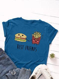 Cartoon Foods Print Short Sleeve O neck Casual T Shirt For Women P1824228, Dark Gray / US 10