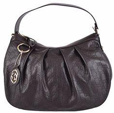 Gucci Women's Brown Leather Guccissima GG Charm Sukey Hobo Purse