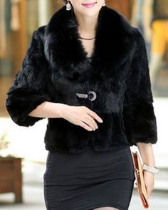 Noble Fur Collar 3/4 Sleeve Solid Color Faux Fur Coat For Women