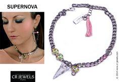 """Cr jewels // women's fashion Jewelry. """"SUPERNOVA"""" collection // #necklace. #fashion #CRJewelsitaly #jewels #jewelry #bijoux #jewellery #supernovacollection #cristinaraviglione #pink #swarovski #SwarovskiElements"""