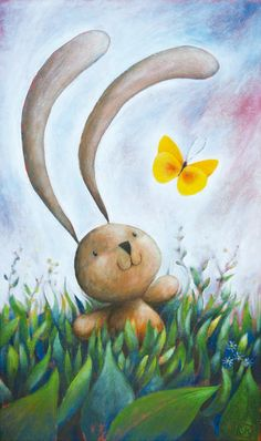 """Bunny & Butterfly"" illustration signed print. For kid room, nursery, by Ciacio"