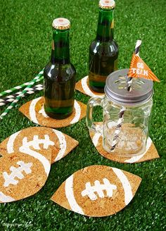 Fruity Beer Cocktail & DIY Football Coasters - perfect combo for your game day or Super Bowl party - BirdsParty.com #superbowl
