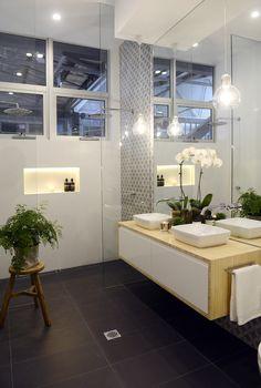 Downstairs bathroom - dark floors timber vanity and pendant. Love mirrors all the way to vanity