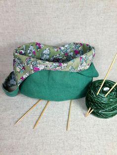 Tasche, dunkelgrün, Blumen, Breite ges. 30 cm, Tiefe 22 cm, Material: 100%…