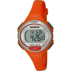 Timex Ironman Essentials 30 Mid-Size (Mandarin Orange/Silver-Tone)... (€41) ❤ liked on Polyvore featuring jewelry, watches, orange, orange watches, orange jewelry, silver tone jewelry, chrono watch and wristband watches