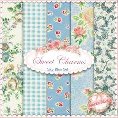 """Mary Rose Sweet Charms  Sky Blue 5 FQ Set by Quilt Gate: Mary Rose is a time-tested group of fabrics by QuiltGate.  These fabrics are from the Sweet Charms collection.  100% cotton.  This set contains 5 fat quarters, each measuring approximately 18"""" x 21""""."""