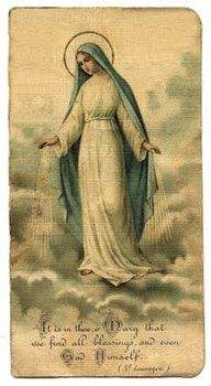 A Blessed Virgin Mary holy card. Divine Mother, Blessed Mother Mary, Blessed Virgin Mary, Religious Images, Religious Icons, Religious Art, Best Couples Costumes, Diy Halloween Costumes For Women, Madonna