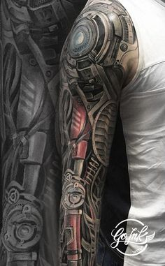 Biomechanical tattoo on hand by Slava Slimov Biomech Tattoo, Biomechanical Tattoo Design, Cyborg Tattoo, Cyberpunk Tattoo, Robotic Arm Tattoo, Best Sleeve Tattoos, Tattoo Sleeve Designs, Leg Tattoos, Body Art Tattoos