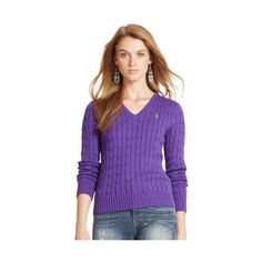 Polo Ralph Lauren Cotton V-Neck Sweater ($99) ❤ liked on Polyvore