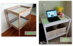 This is really fabulous! She made over a changing table into a desk and organized it really well!
