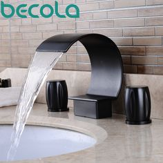 93.34$  Watch here - http://ali3ta.worldwells.pw/go.php?t=32784032690 - becola Oil Rubbed Black Faucet deck mounted antique brass dual handle bathroom tap waterfall bathtub Faucet S-208R 93.34$