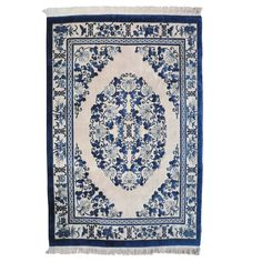 Chinese Blue and White Rug | From a unique collection of antique and modern chinese and east asian rugs at https://www.1stdibs.com/furniture/rugs-carpets/chinese-rugs/