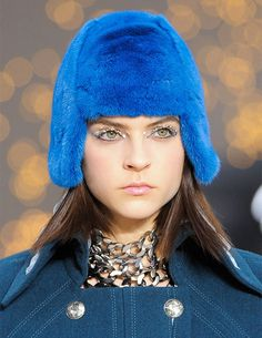 Bold Blue #Fur Aviator #Hat  Chanel Fall Winter 2013#Fashion #Trend