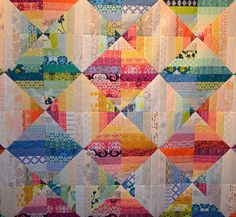 Blended Scraps, She can quilt blog. Triangles once again. Love this.
