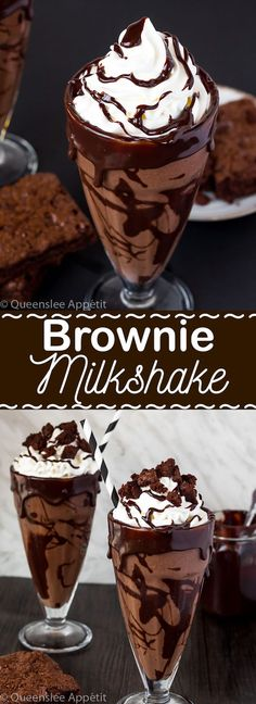 Brownie-Milchshake Brownie Milkshake – This brownie milkshake is a super decadent treat that any chocolate lover should try at least once! This milkshake loaded with brownie chunks and decorated with ganache is filled with delicious chocolate flavor. Brownie Milkshake Recipes, Smoothie Recipes, Brownie Recipes, Milkshake Drink, Steak N Shake Milkshake Recipe, Best Milkshakes, Vanilla Milkshake, Protein Smoothies, Desert Recipes