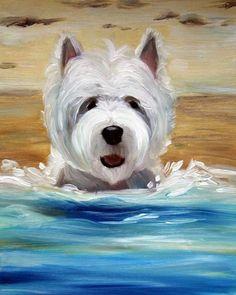 PRINT White Westie West Highland Terrier Dog Art Oil Painting Beach Ocean Sand Summer / Mary Sparrow Smith