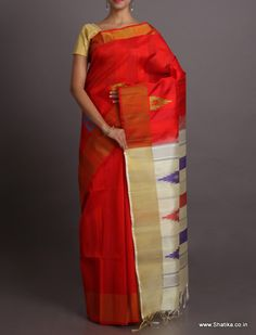 Simran Vibrant Red With Claming White #BhagalpuriSilkSaree