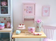 1:12 Scale Shabby Chic Rose Cupboard for your door LovejoyBears, $28.00