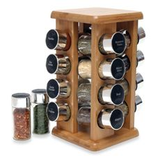 $24 Lipper Bamboo 16-Bottle Filled Spice Rack - Bed Bath & Beyond  ****USE FOR K-CUPS