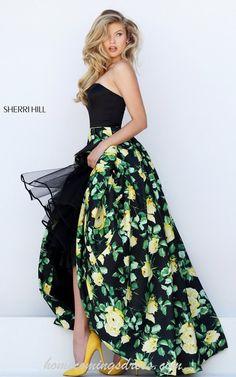 Sherri Hill 50206 Strapless Floral Prints Prom Dress 2016