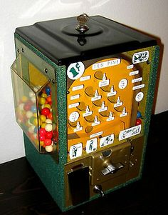 Vintage Victor 1950's Ten Pins Gumball Bowling Machine Coin-op 1 cent