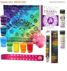 "FALL SALE SAVE 8% Reiki Healing Light Workers Kit Chakra Wand Rose Quartz Chakra Candles & Book, Spiritual Craft Supplies Handmade Spell Oils Third Eye, Altar    SPIRITUAL CRAFT SUPPLIES  HANDMADE OILS INCLUDED, Set of 3    INCLUDES:  BOOK - 'Book of Chakra Healing' by Liz Simpson. ($16.95 retail +S&H)  Lotus Chakra Altar Cloth - 36x36""  7 Votive Chakra Candles - each 7 chakra colors in the natural fragrances  7 Chakra Incense package - you get 7 packages; each package has 5 sticks = 35…"