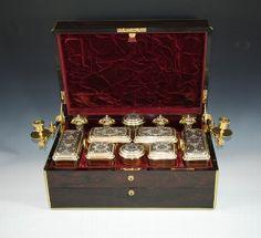 Antique SIR WINSTON CHURCHILL'S GRANDMOTHERS SILVER GILT VANITY BOX