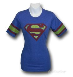 Images of Supergirl Jr Womens Blue Athletic T-Shirt