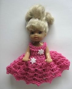 doll 10 cm  4 inch nutka_art handmade doll clothes crochet  dress  Kelly Shelly Evie small sister Barbie