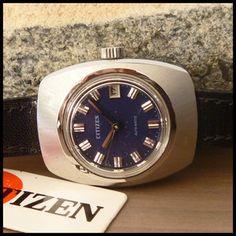 NOS 1970's Citizen [Japan] Ladies Blue Dial Dress Watch With Automatic Movement