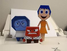PAPERMAU: Inside Out - Joy, Sadness And Anger Paper Toys - by Tonchat Jaizue