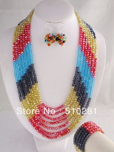 Free shipping!!! LK-122 Fashion Multicolor Crystal Necklace Bracelet Earrings African Wedding Jewelry Set $63.12