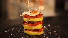 Pincho de sobrasada y patata con cebolla caramelizada. Canal cocina