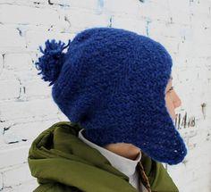 Blue knit hat/Blue ear flap hat/Blue woman knit hat/Knit