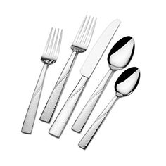 Set includes 8 each of: salad forks, dinner forks, dinner knives,  dinner spoons and teaspoons Also includes: 1 tablespoon, 1 pierced tablespoon, 1 cold meat fork, 8 extra teaspoons Made of 18/0 stainless steel Dishwasher safe Never needs polishing