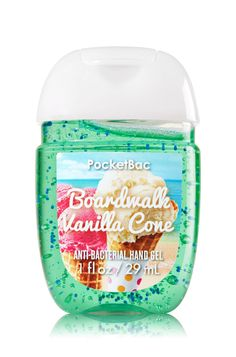 Boardwalk Vanilla Cone - PocketBac Sanitizing Hand Gel - Bath & Body Works - Now with more happy! Our NEW PocketBac is perfectly shaped for pockets & purses, making it easy to kill of germs when you're on-the-go! New, skin-softening formula conditio Bath And Body Works Perfume, Bath N Body Works, Body Wash, Sent Bon, Body Spray, Smell Good, Hand Sanitizer, The Balm, It Works