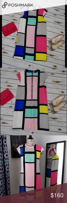 Kate Spade Color Block Dress Kate Spade Color Block Dress. New, with tag. No holes or stains, no signs of wear (new!). Size 8, the bust measures at 18 inches across. The length is 35.5 inches. The dress has a few minor wrinkles the dry cleaner can remove and one side of the slip is unattached (see picture). Claudette dress! Smoke free and pet free home! kate spade Dresses Midi