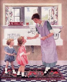 SO sweet! 1920s Kitchen Gallery - Kitchen flooring, cabinetry, nooks, and plumbing - Vintage Kitchen Design Inspiration