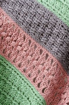 Soft Stripes Throw - free crochet pattern - easy level! This looks like a really good stash buster pattern. It also is a modular pattern like those mile-a-minute patterns so you could take one panel with you to work on.