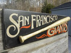 SF Giants Sign, original, hand made, San Francisco baseball art, sports decor, wall hanging-art. $98.00, via Etsy.  But I could make my own :)